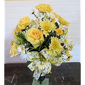 Cemetery Vase with Yellow Roses, Cemetery Flowers in Vase, Cemetery Flower Arrangement 63