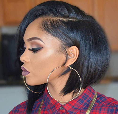 150% Density Human Hair Lace Front Wigs Short Bob Wigs for Black Women with Baby Hair Glueless Brazilian Virgin Hair Side Part Wig Natural Color 10 Inches from YIlin