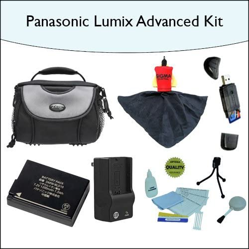 Advanced Accessory Kit with High Capacity DMW-BLD10 Extended Battery 1 Hour Rapid Charger and Much More for Panasonic GF2 Deluxe Camera//Camcorder Carrying Case