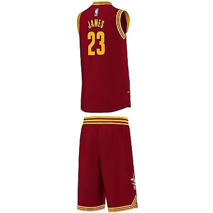adidas Cleveland Cavaliers Mini Kit - Camiseta para hombre, color rojo / amarillo / blanco
