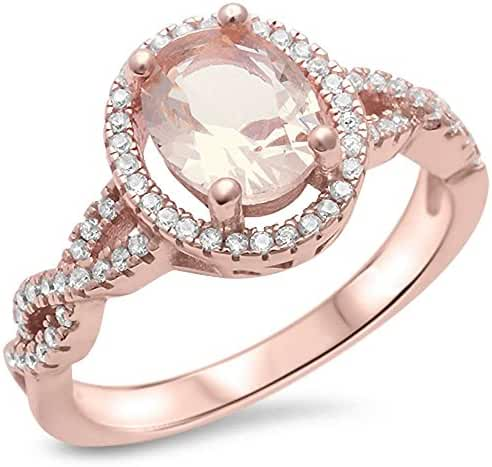 Sterling Silver Rose Gold Plated Morganite & Cubic Zirconia Ring Sizes 4-11