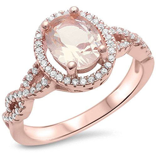 Sterling Silver Rose Gold Plated Morganite   Cubic Zirconia Ring Size 7