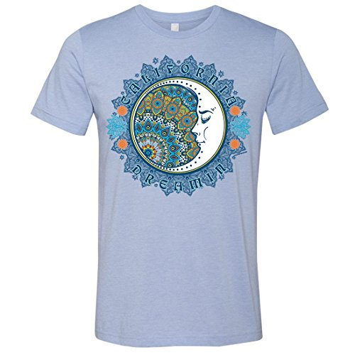 California Dreamin Mens Lightweight Fitted T-Shirt/tee - Heather Blue Small