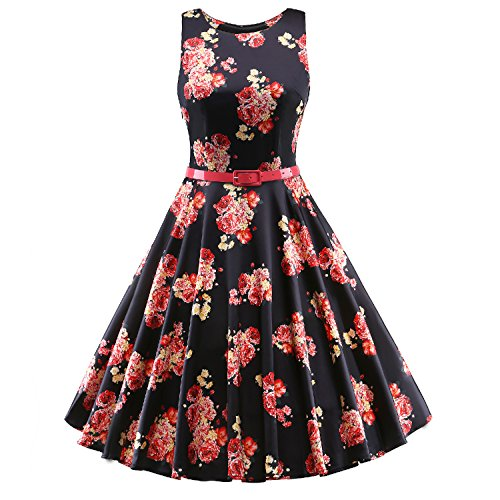 Luouse-Classy-Vintage-1950s-1960s-Floral-Rockabilly-Swing-Evening-Dress