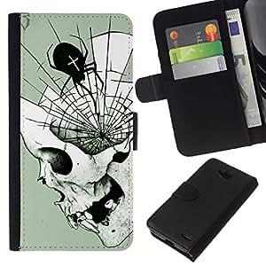 All Phone Most Case / Oferta Especial Cáscara Funda de cuero Monedero Cubierta de proteccion Caso / Wallet Case for LG OPTIMUS L90 // Spider Web Mind Fangs Deep Halloween
