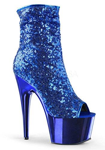 Pleaser Mujer's Ado1008sq / G / Gch Bota Blue Sequins, Blue Chrome
