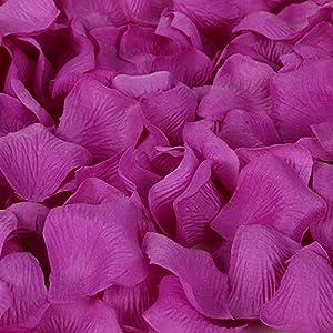 Colorfulife Simulation Rose Petals, 1200pcs Artificial Silk Rose Petal Flower Bridal for Wedding Party Valentine Supplies Room Decoration Centerpieces Confetti (5# Purple Red) 5