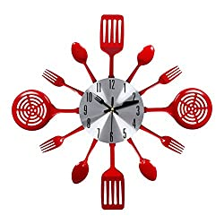 EasyHoKi Large Kitchen Metal Wall Clock (16 in) with Non-ticking Design, Indoor/Outdoor (Red)