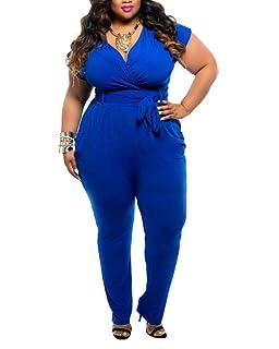 Pantalon Femme Col en V Manches Courte Jumpsuit Romper Combinaison Playsuit Grande  Taille 77cb0ed57650