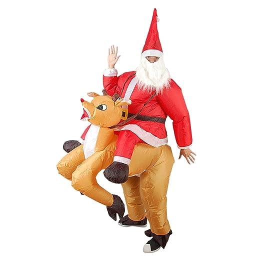 JEOHMMA - Disfraz Hinchable de Papá Noel con Montura de Reno ...