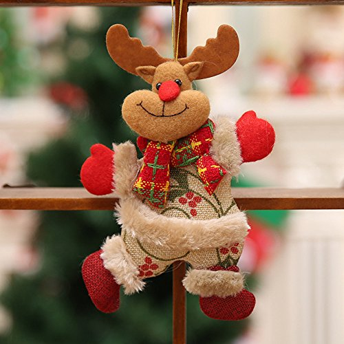 Wffo Christmas Ornaments, Santa Claus Snowman Reindeer Toy, Hanging Doll Decorations -