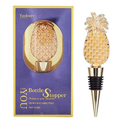 Yuokwer Pineapple Wine Stoppers, Reusable Wine Bottle Stopper,Wine and Beverage Bottle Stoppers Party Favor Gift for Lover, Holiday Party,Wedding, Birthday (Gold Pineapple, 1) (Holiday Stoppers Wine Sale)