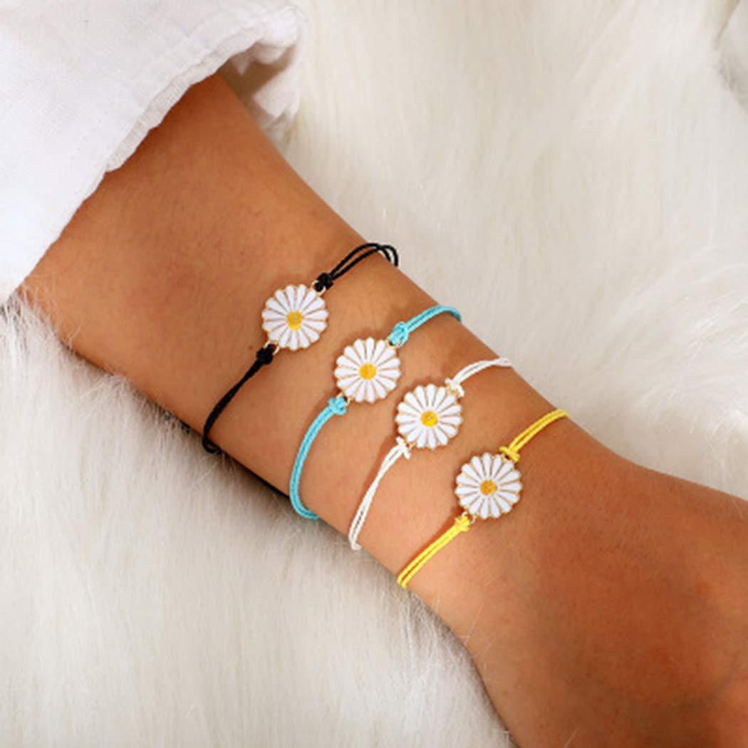 Fdesigner Boho Layered Flower Anklet Bracelets braided String Multi-Color Bracelets Set for Women and Girls 4PCS