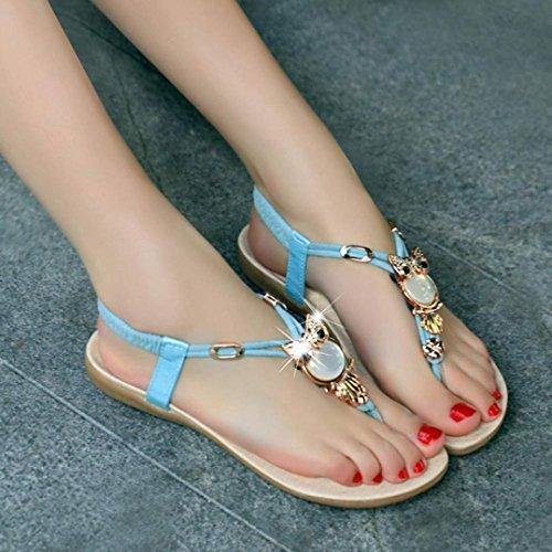 vovotrade 2016 La mujer Rhinestone búho clip toe sandalias zapatos sandalias de playa Azul