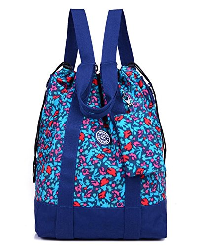 Price comparison product image Women's Large Floral Nylon Travel Totes Sports Gym Bag Multipurpose Drawstring Backpack with Extra Small Pouch (Blue Leopard)