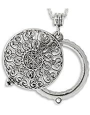 "Artisan Owl Ornate Filigree 4X Magnifier Magnifying Glass Sliding Top Magnet Pendant Necklace, 30"""