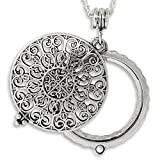 Ornate Filigree 4x Magnifier Magnifying Glass Sliding Top Magnet Pendant Necklace, 30'' (Silver Tone)