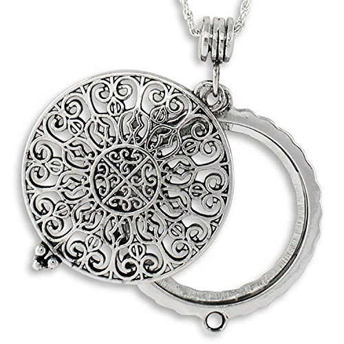 (Ornate Filigree 4x Magnifier Magnifying Glass Sliding Top Magnet Pendant Necklace, 30