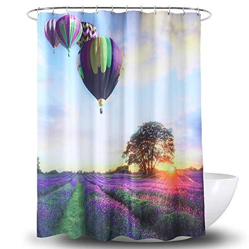 Ao blare Hot Air Balloon Shower Curtain,Purple Green Hot Air Balloon Lavender Colorful Sunset Countryside Waterproof Bath Decor 72X72Inch ()