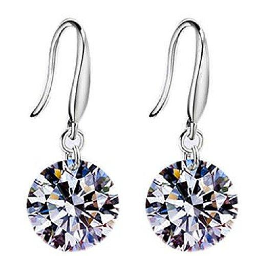 (Cubic Zirconia Earrings / Naked swarvoski drill sterling silver earring / jewelry / accessories)