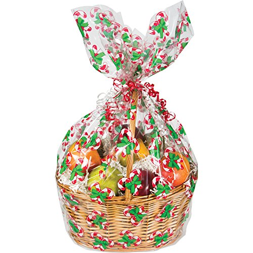 Creative Converting 12 Count Candy Cane Cello Basket Bags, Large, Clear