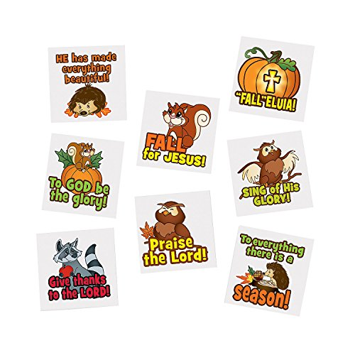 Fun Express Fall Christian Tattoos, 6 dozen, 1 1/4 - Inch, Assorted -