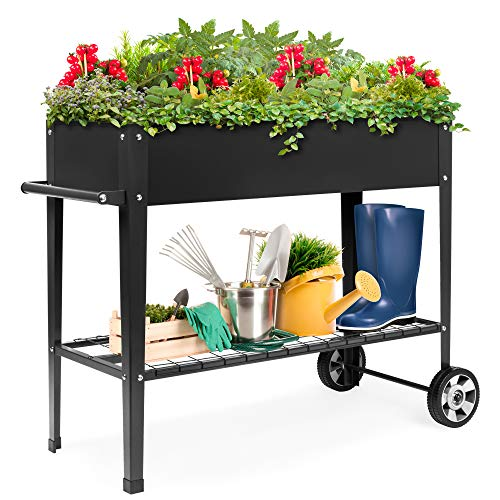 Best Choice Products Elevated Mobile Raised Ergonomic Metal Planter Garden Bed for Backyard, Patio w/Wheels, Lower Shelf…
