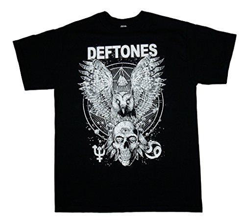 (DEFTONES - Owl And Skull - Men's T-Shirt XL Black)