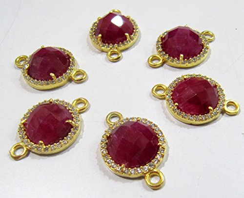 Ruby Round Briolette Connectors With Pave CZ Gold Plated / Double Loop Size 13 mm Faceted Gemstone Pendant / Pave Link Connectors- Wholesale