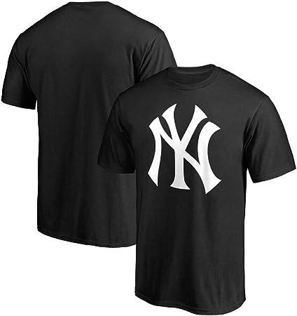 Hombres Adolescentes MLB NY Yankees Camiseta de Béisbol Manga Corta Ocio Deportes Camiseta de Algodón,Negro,M: Amazon.es: Hogar