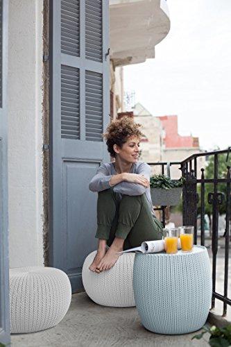 Keter 234242 Urban Knit Pouf Set Cloudy Grey Oasis White