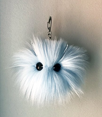 Quinn Purse Bag - Pom Pom Purse Charm Keychain Bag Accessory Blue Plushie Handmade Cute Monster Girly Baby Shower Bridal Shower