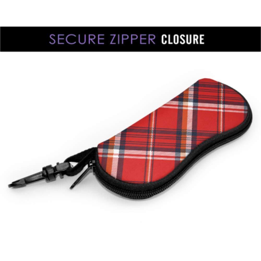 Simple Red Tartan Scottish Plaid Sunglasses Pouch Bag Man Glasses Case Light Portable Neoprene Zipper Soft Case Eyeglass Case Holder
