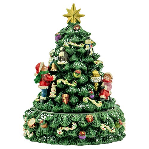 Elanze Designs Christmas Tree and Santa Revolving Music Box - Plays Tune We Wish You A Merry Christmas