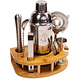 Stock Harbor 8 Piece Stainless Steel Bartender Set with Curved Bamboo Base Kitchen Accessories Cocktail Bar Tool Set