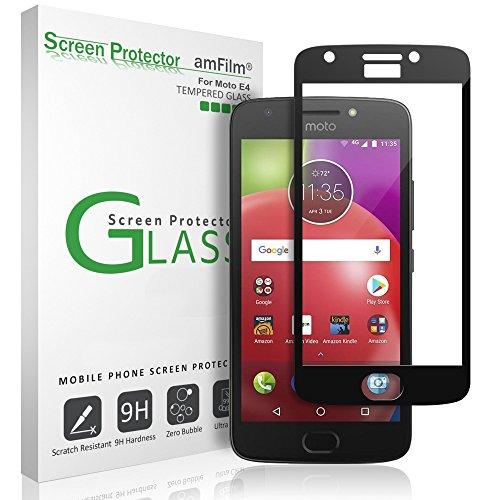 Moto E4 Screen Protector Glass , amFilm Dot Matrix Bye-Bye-Bubble Moto E4 4th Generation Tempered Glass Screen Protector 2017