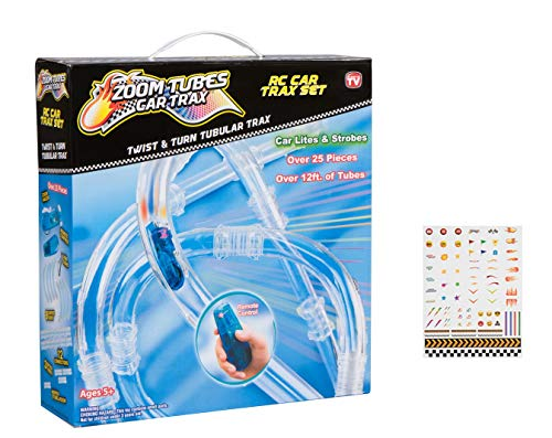 (Zoom Tubes RC Car Trax, TV Bundle: 25-Pc Main Kit with 1 Blue Racer and Over 12ft of Tubes and Customizable Sticker Decals (As Seen on TV))