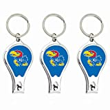ku gear - NCAA Kansas Jayhawks Nail Clipper with Bottle Opener, Silver, Set of 3