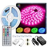 MINGER LED Strip Lights, 16.4ft RGB LED Light Strip 5050 LED Tape Lights, Color Changing LED Strip Lights with Remote for Home Lighting Kitchen Bed Flexible Strip Lights for Bar Home Decoration: more info