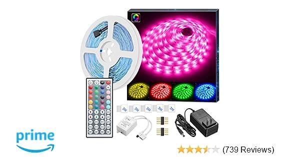 MINGER LED Strip Lights, 16 4ft RGB LED Light Strip 5050 LED Tape Lights,  Color Changing LED Strip Lights with Remote for Home Lighting Kitchen Bed