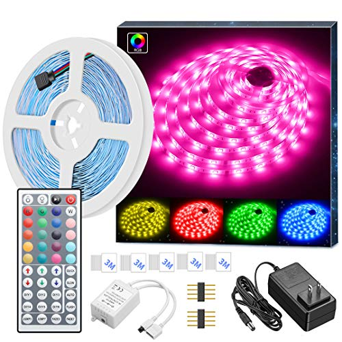 LED Strip Lights, MINGER 16.4ft RGB LED Light Strip 5050 LED Tape Lights, Color Changing LED Strip Lights with Remote for Home Lighting Kitchen Bed Flexible Strip Lights for Bar Christmas Decoration