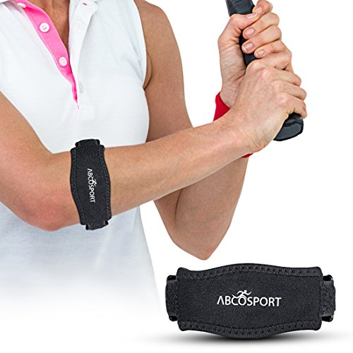 Abco Tech Elbow Strap - Pain Relief for Tendonitis & Forearm with Compression Pad - Ideal for Tennis, Golfer's, Hyper Extension, Fishing, Weightlifting, Badminton, etc. - Adjustable Straps in 2 Sizes