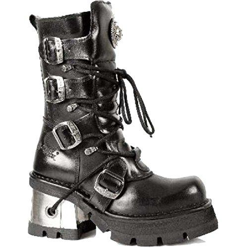 New Rock Damen Schwarze Leder SchnŸrsenkel Wimpern Stiefel mit verstellbaren Schnallen
