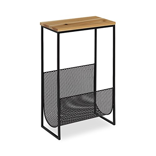 Kate and Laurel Galen Accent Side Table and Magazine Rack with Natural Wood Top and Black Metal Base (Rack Wide Top Magazine)