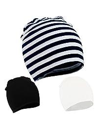 American Trends Unisex Cotton Beanie Hat Girl Boy Toddler Kids Children Soft Cap(3 PCS-Mix Color3)