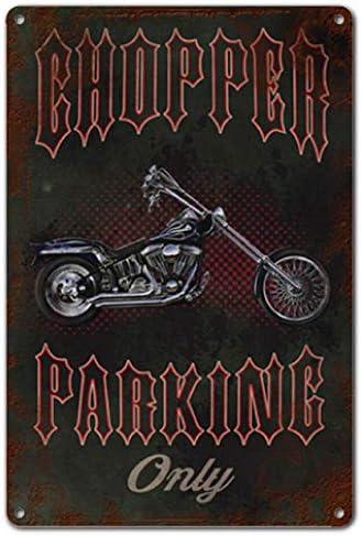Chopper Parking Only Garage Man Cave Auto ABLERTRADE Metallschild 20,3 x 30,5 cm Motiv