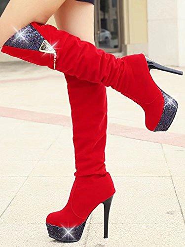 Aiyoumei Damesplatform Dunne Hak Herfst Winter Stevige Knie Hoge Laarzen Met Strass Rood