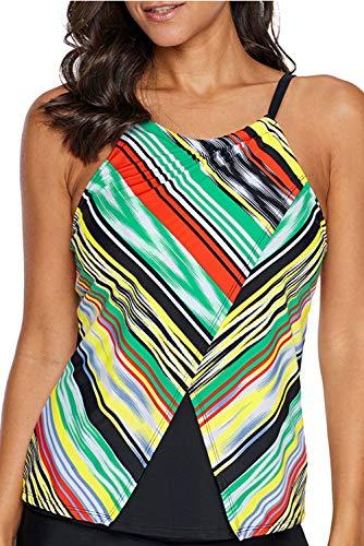 Astylish Womens Sexy Blouson Split Adjustable Straps Open Back Stripe Printed Tankinis Top Push up Layered 2019 Tankini Tops Swimsuits Swimwears Under 20 Medium Size 8 10 Multicolored