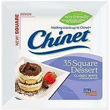 Chinet Classic White Dessert Plate, White, Square, 6-3/8 Inch, 35 Count