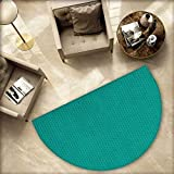 Teal Semicircular Cushion Knitting Inspired Pattern Sewing and Crafting Hobby Themed Design Monochrome Image Print Entry Door Mat H 55.1'' xD 82.6'' Teal